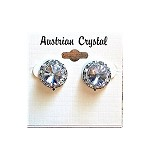 ra35 Med. Austrian Crystal Post Earrings (pr.) 11mm ctr./15mm total size. These are assembled by hand and will be available about two weeks after an order is placed.