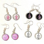 ea04 10mm Keep Calm And Dance On Dangle Earrings (pr.)