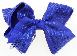 "ha136 4 1/2"" Sequin Bow Hair Clip (ea.)"