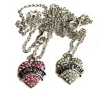 n66 Rhinestone Heart DANCE MOM Necklace (ea.)