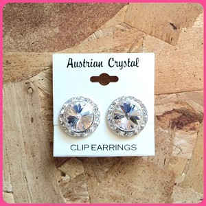 ra154 Lg. Austrian Crystal Clip-On Earrings (pr.) 15mm ctr./20mm total size