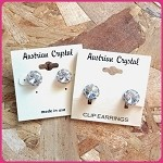 ra240 Sm. Austrian Crystal Clip-On or Post Earrings (pr.) 9mm ctr./11mm total size.