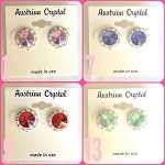 ra254.a Lt. Pink to Peridot Med. Austrian Crystal Post Earrings (pr.) 11mm ctr./15mm total size