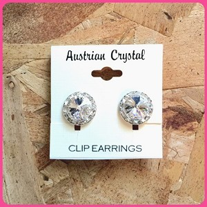 ra54 Med. Austrian Crystal Clip-On Earrings (pr.) 11mm ctr./15mm total size. These are assembled by hand and will be available about two weeks after an order is placed.