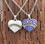 n68 Blue Rhinestones Gymnastics Heart Necklace (ea.)