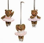 g196 Resin Ballerina Bear Ornaments (3pc.)