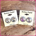 ra36 Lg. Austrian Crystal Post Earrings (pr.) 15mm ctr./20mm total size.