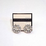 ra262 22mm Crystal Cluster Earrings w/Gold Background (pr.)