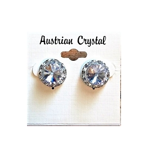 ra35 Med. Austrian Crystal Post Earrings (pr.) 11mm ctr./15mm total size.