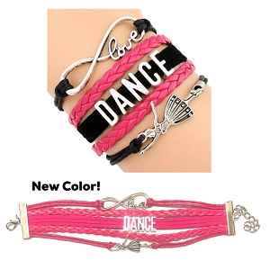 A variety of textured bands provide a dynamic foundation for a ballerina charm and two silvertone words that express how your little one feels about dance. 7