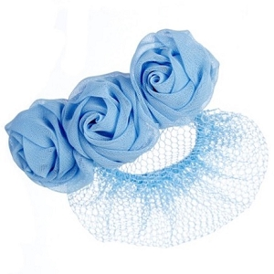 Keep your little one's hair neatly in place with this snood displaying three roses.
