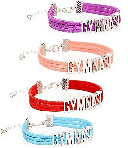 These brightly colored bracelets feature silver letter charms that spell out