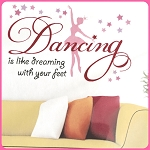 Little twirlers can boast their passion for dancing with this star-sprinkled wall art.  20''w x 12''h