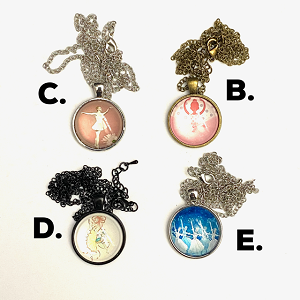 These vintage inspired vignette cabochon pendants feature ballerinas and dancers in classical ballet positions. Necklaces come in silver, antique brass, and black, and are fastened with lobster clasps.