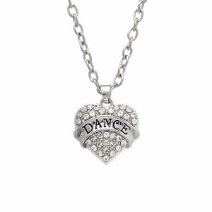 A pave of glittering rhinestones provides the backdrop for this pendant's main attraction: a silvertone banner proclaiming your little one's love of dance.  18-20