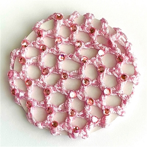Add a touch of sparkle to her hair with these soft yet durable rayon bun covers with rhinestones.