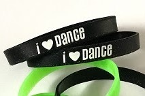 a157 Silicone I Love Dance Bracelet (ea.) Color black