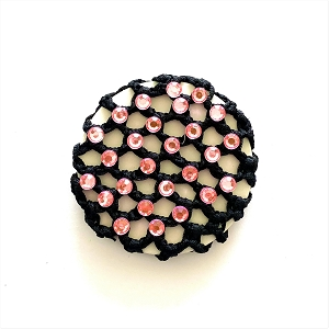 Add a touch of sparkle to your little one's hair with these soft yet durable rayon bun covers with rhinestones.