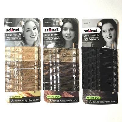 ha253 SCUNCI Color Match Bobbi Pins 3