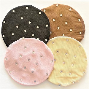 Add a touch of sparkle to her hair with these durable mesh bun covers with rhinestones.