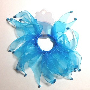 Keep your little one's hair neatly in place with these chiffon hair scrunchies w/glitzy rhinestones on the ends.